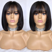 LUFFYHAIR Bob Cut 13X6 Lace Front Short Human Hair Wigs With Bangs Pre plucked Brazilian Remy Straight Hair For Women