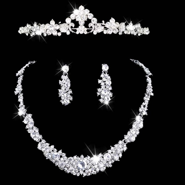 Joyería de las mujeres set de joyas de cristal austriaco collar y pendiente conjuntos de collar conjunto de las mujeres Novia Nupcial Corona Collar Pendiente 3 unids