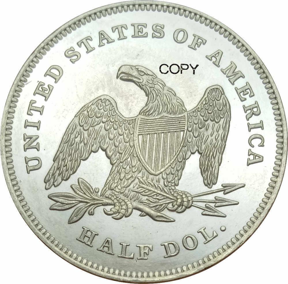 Hoa Kỳ Tự Do Ngồi Nửa Đô La Không Có Khẩu Hiệu Trên EAGLE 1839 Bộ Chăn Drap Từ Khuỷu Tay Hợp Kim Đồng-niken Mạ Bạc Sao Chép Đồng Xu
