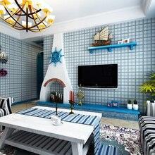 Mediterranean Grid Non-woven Wallpaper Bedroom Living Room Background Wall Paper цены