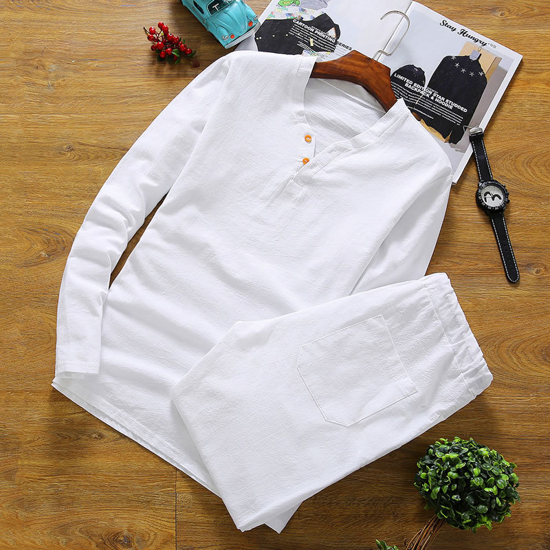 Men's Pajamas Summer Cotton Linen Long Sleeve Trousers Pyjamas Sleepwear Mens Pajamas Set Mens Pyjama