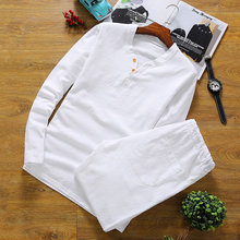 Men's Pajamas Summer Cotton Linen Long sleeve trousers pyjamas Sleepwear Mens