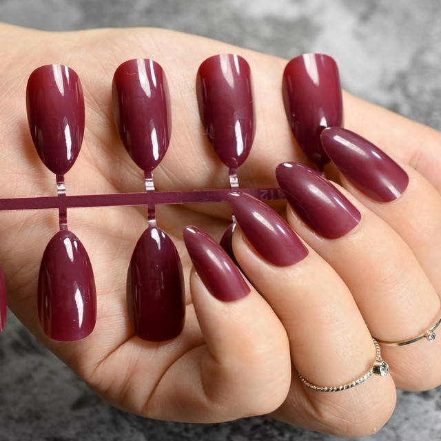 Online Shop Almond Design Acrylic Nails Dark Red Wine Candy Pure ...