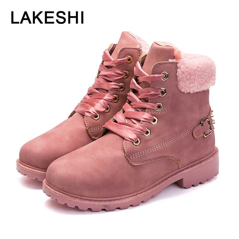 52acded2 LAKESHI/женские ботильоны, кожаные ботинки martin, женская обувь, розовые  теплые женские ботинки