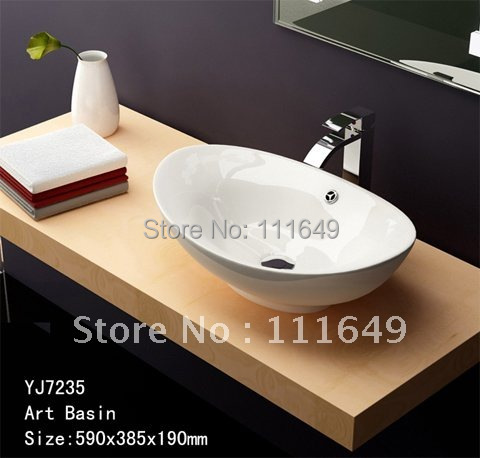 7235 Bathroom Ceramic Counter top one hole for faucet Wash hand Wash bowl basin Cabinet Basin