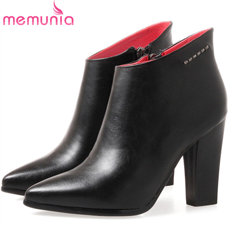 MEMUNIA Pointed toe high heels boots spring autumn womens boots PU soft leather office lady party fashion ankle boots pu pointed toe flats with eyelet strap