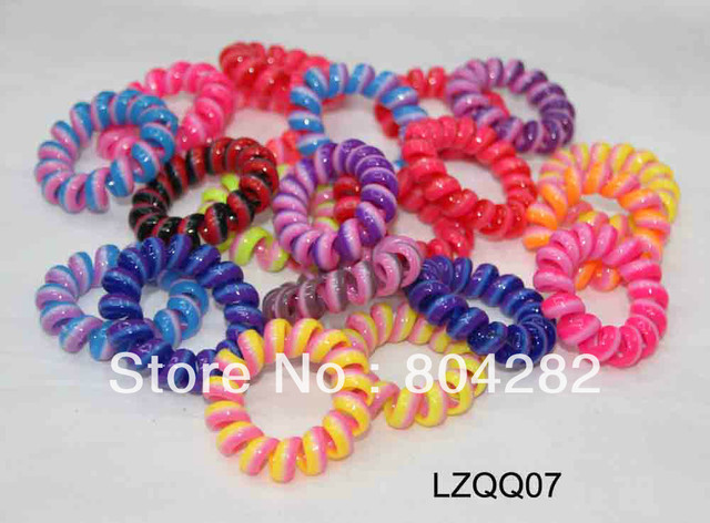 Free Shipping! 100 pcs/box multi-color elastic telephone wire hair holder  LZQQ07