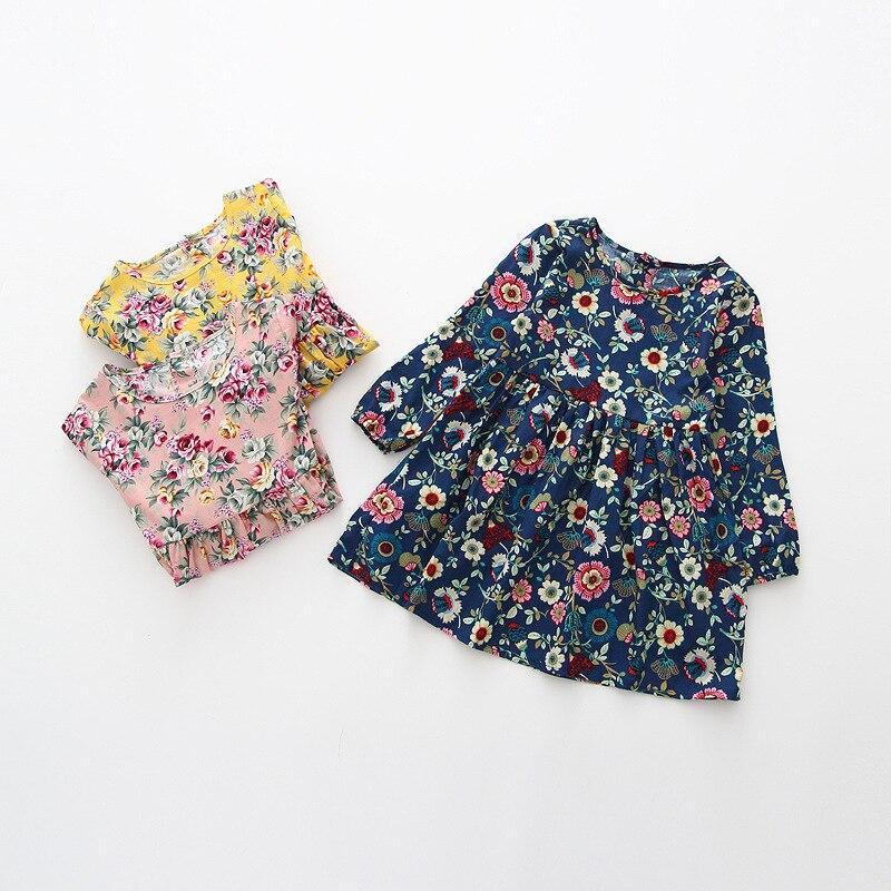2016 New Autumn Girls Dress Kids Long Sleeve Dress Baby linen Floral Dress Children Pleats Dress Toddler Basic Clothes,2-6Y w l monsoon baby girls autumn dress long