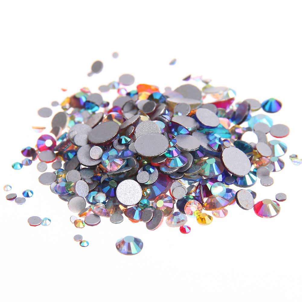 Mixed AB Colors Non Hotfix Crystal Rhinestones SS3-SS30 Flatback Round Glue On Nail Art Glass Stones DIY Craft Garments Supplies super shiny 5000p ss16 4mm crystal clear ab non hotfix rhinestones for 3d nail art decoration flatback rhinestones diy