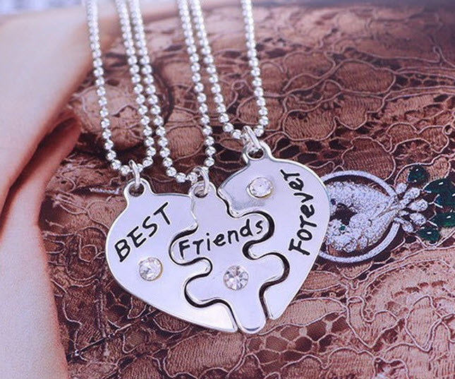 10set/lot Best Friend Forever 3 Part Love Break Heart Pendent Friendship Necklace Statement Chain Statement Necklace Jewelry