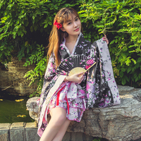 Elegant Mini Women Flower Sakura Suit Traditional Japanese Kimono Performances Costumes Halloween Anime Cosplay Geisha Dress