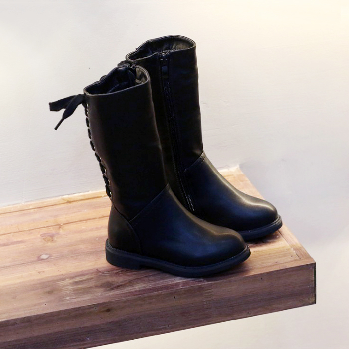 WENDYWU 2017 leather boots for girls Korean straps with long boots Black velvet inside princess shoes High cylinder belt  boots