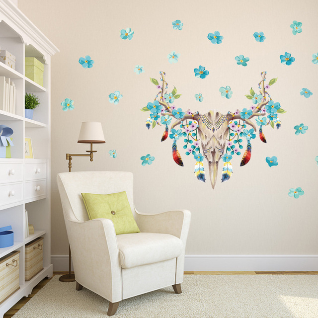 Blue Flowers Feather Animals Head Wall Decal Home Decor Living Room Hallway Wallpaper Poster Removable Skull