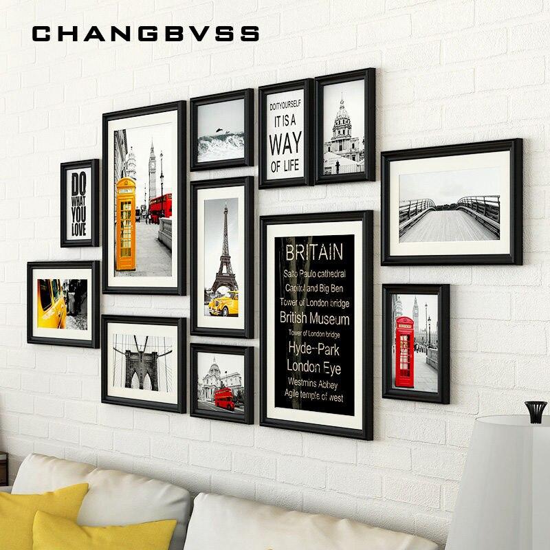 12 pièces/ensemble avec cadres Photo muraux noirs, cadre Photo Vintage, cadres Photo de grande taille pour Photo, cadre Photo en bois