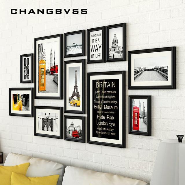 12 pz set con black wall cornici set vintage photo frame
