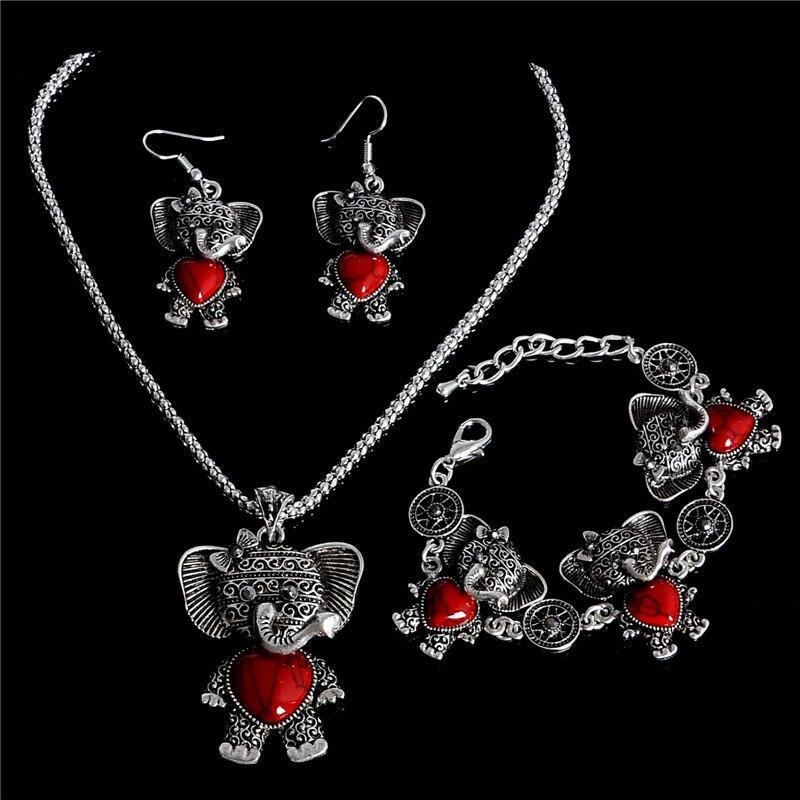 d76fc8b383da H  Hyde Piedra Natural collar pulsera Pendientes elefante Juegos de joyería  plata de color vintage joyería para mujeres damas regalo
