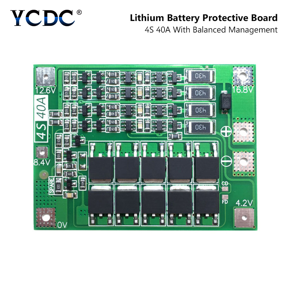 4S 40A 4S40A BMS 14.8V 16.8V 18650 26650 Lithium Li-ion Battery Protection Board PCB With Balanced Version For Drill 40A Current