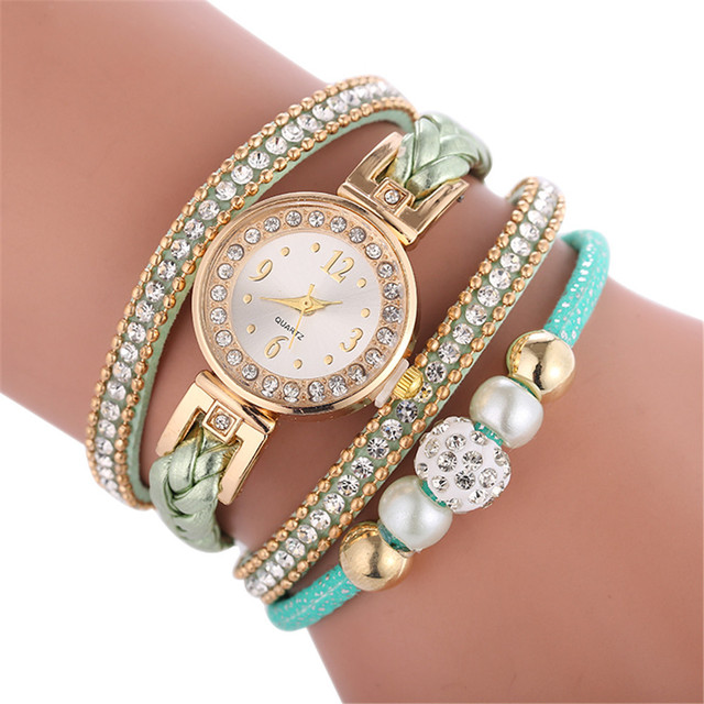 Green NEW Beautiful Fashion Quartz Watches HOT Sale Bracelet Watches Luxury Crys