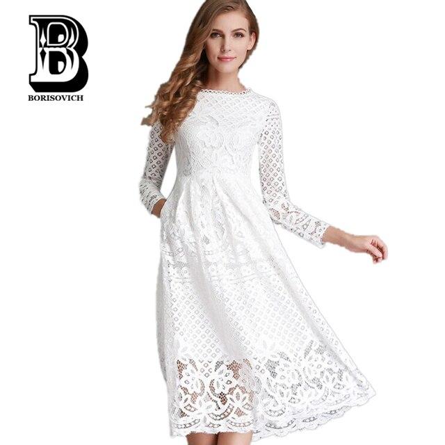 Новый 2017 Весенняя Мода Выдалбливают Элегантный Белый Кружева Элегантный Участник Dress Высокое Качество Женщины С Длинным Рукавом Повседневные Платья H016