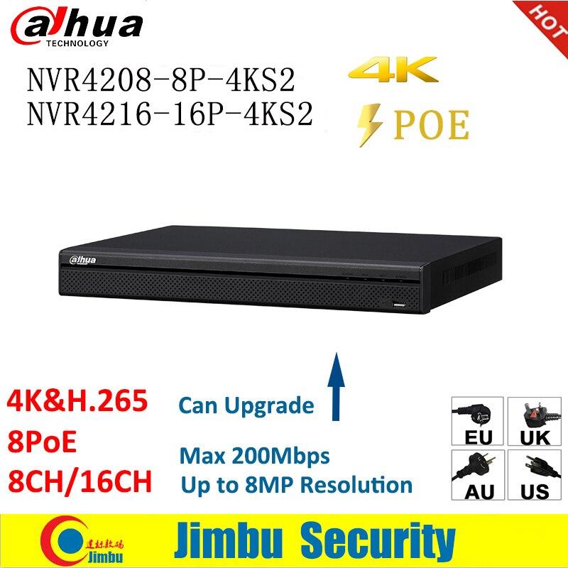 Dahua NVR H 265 4K POE Video Recorder NVR4208 8P 4KS2 NVR4216 16P 4KS2 8POE port