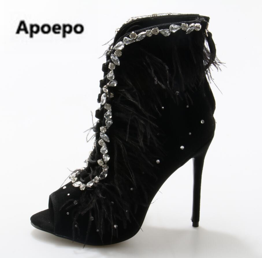 Ladies Summer Feather Cover Bling Rhinestones Decor Ankle Boots Women Lace Up Peep toe Stiletto Heels Crystal Sandals Bottines gorgeous silvery women bling bling crystal stiletto heel ankle boots glittering peep toe booties lace up dress sandals hot sell