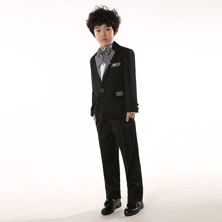 Boy Wedding Blazers Suits 5 Pcs/Set Coat+Shirt+Pant+Belt+Tie 100-150 Boy Performances Party Suits Black White Color ремень fallen suits belt black