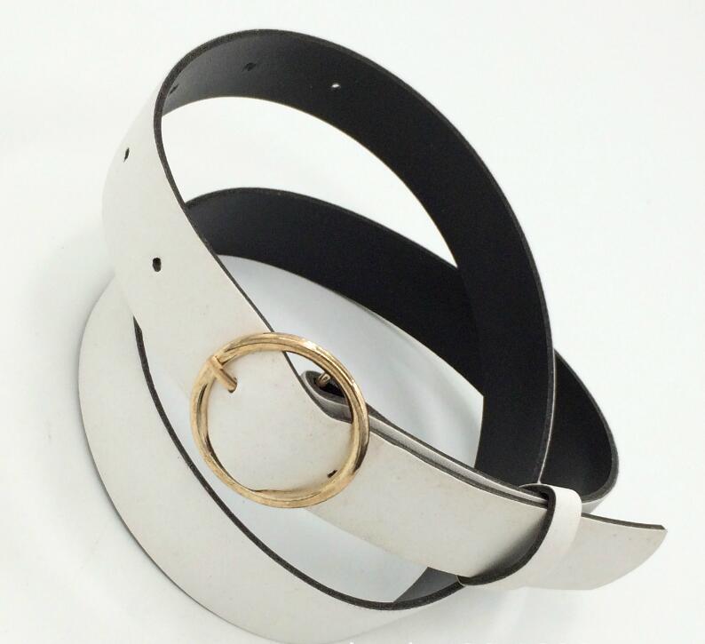 Женский кожаный ремень, новые круглые пряжки, ремни для женщин, для досуга, джинсы, дикие, без шпильки, металлическая пряжка, женский ремень - Цвет: Style 2 WhiteGold