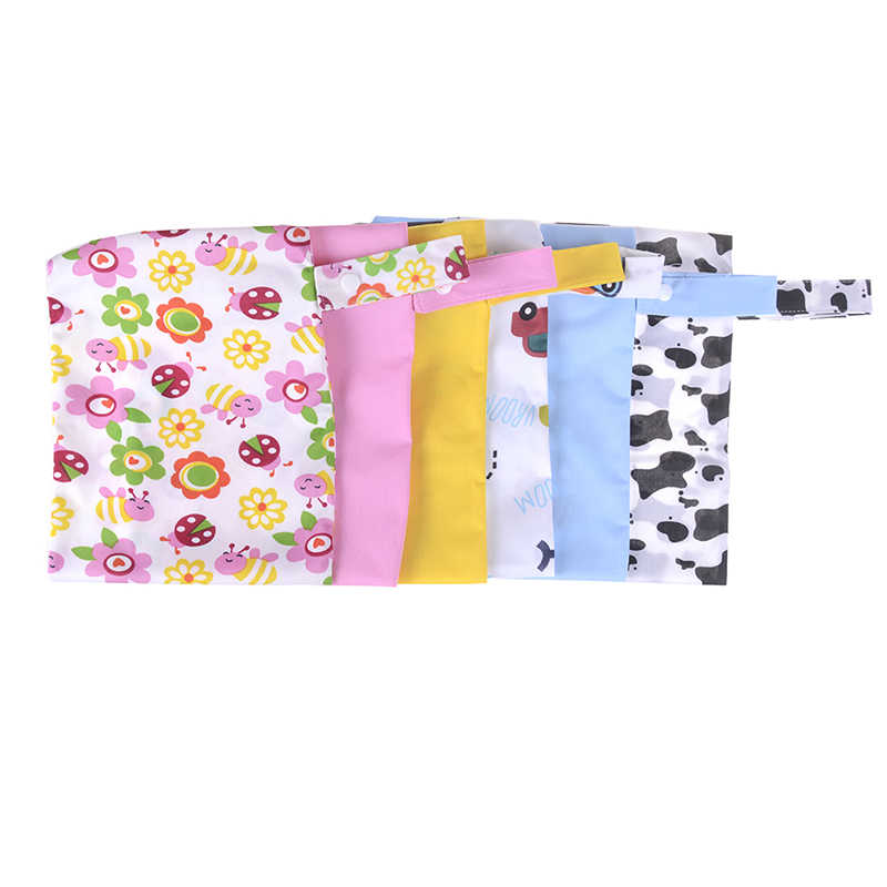 Mini tamaño 20x25cm bolsa de pañales impermeable reutilizable bolsa húmeda impresa bolsillo pañales bolsas PUL viaje mojado seco bolsas más reciente