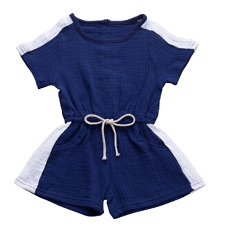 Summer Toddler Kids Baby Girl Casual Candy Color Drawstring Sport Romper Jumpsuit Playsuit Short Pants Clothes 1-4years Old