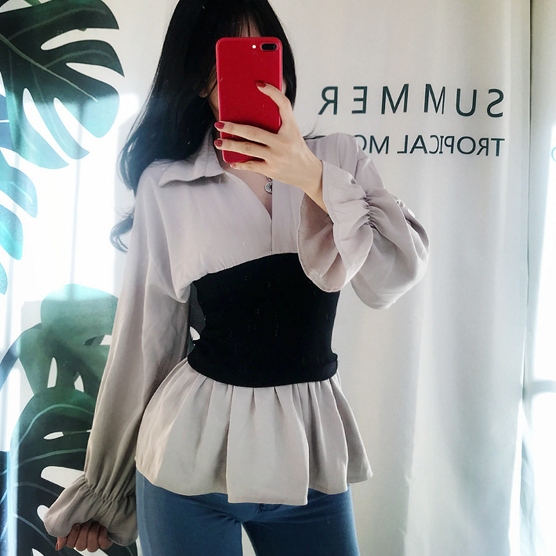 Qiukichonson Waisted Korean Fashion Vintage Peplum Top Women 2019 Spring Autumn Patchwork V neck Long Flare Sleeve Blouse Women in Blouses amp Shirts from Women 39 s Clothing