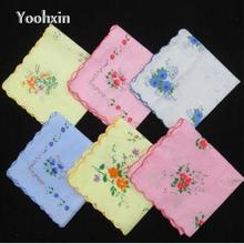 Nice white Ladies lace Handkerchief Cotton silk Flowers Women hanky children kids print hand towels wedding Gifts 10pcs/lot