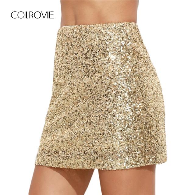 COLROVIE mujer Falda corta Mujer coreana ropa Sexy Clubwear sólido oro bordado lentejuelas una línea Mini falda