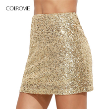 Colrovie feminino saia curta coreana roupas femininas sexy clubwear sólido ouro bordado lantejoulas uma linha mini saia