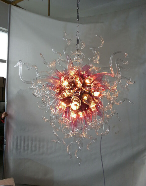Elegant Art Gl Chandelier Pink Shade Clear 100 Hand N Lighting