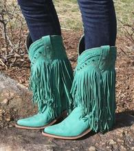 Sexy Green Fringe Rubber Boots Women Round Toe Tassel Mid-calf Winter Ridding Boots Thick Low Heels Studded Motorcycle Boots