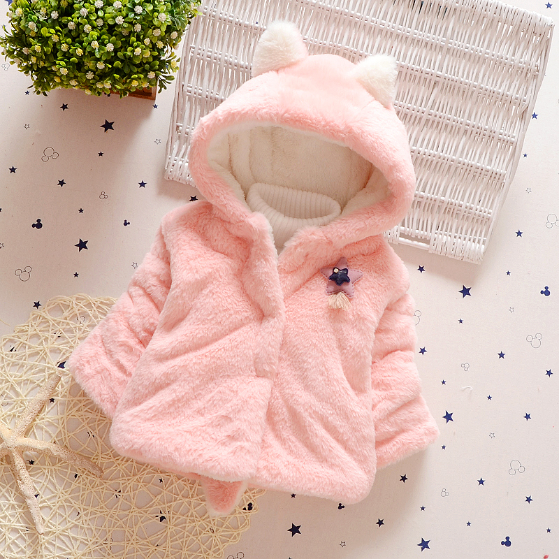 New Brands Girls Winter Coat Fox Fur Kids Clothes Cute Baby Autumn Hooded Batwing Toddler Girls Solid Rabbit Ears Jacket fashion toddler girls baby american flag pattern cute rabbit ears headband