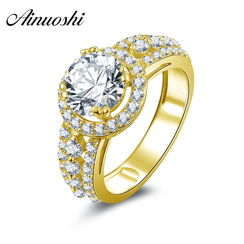 AINUOSHI 10K Solid Yellow Gold Women Wedding Ring 3 Rows Drill Halo Aneis Feminino 2 CT Simulated Diamond Luxury Ring for Women