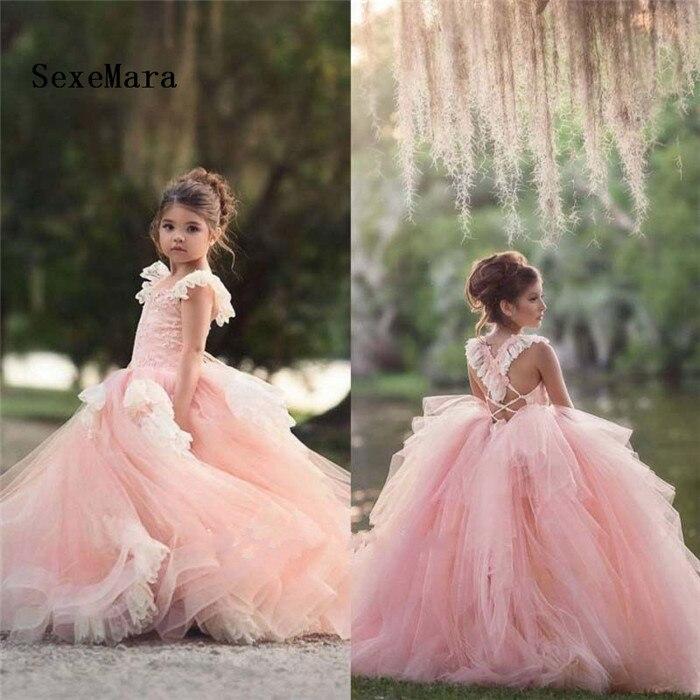 Dentelle fleur filles robe longue Tulle adolescente robe de soirée élégant enfants vêtements enfants robes princesse robe de noël