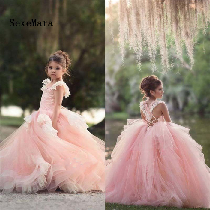 Lace Flower Girls Dress Long Tulle Teen Girl Party Dress Elegant Children Clothing Kids Dresses Princess Christmas Gown baby girl dress flower children clothing wedding dress lace high waist elegant long dresses birthday girl princess dress gdr407