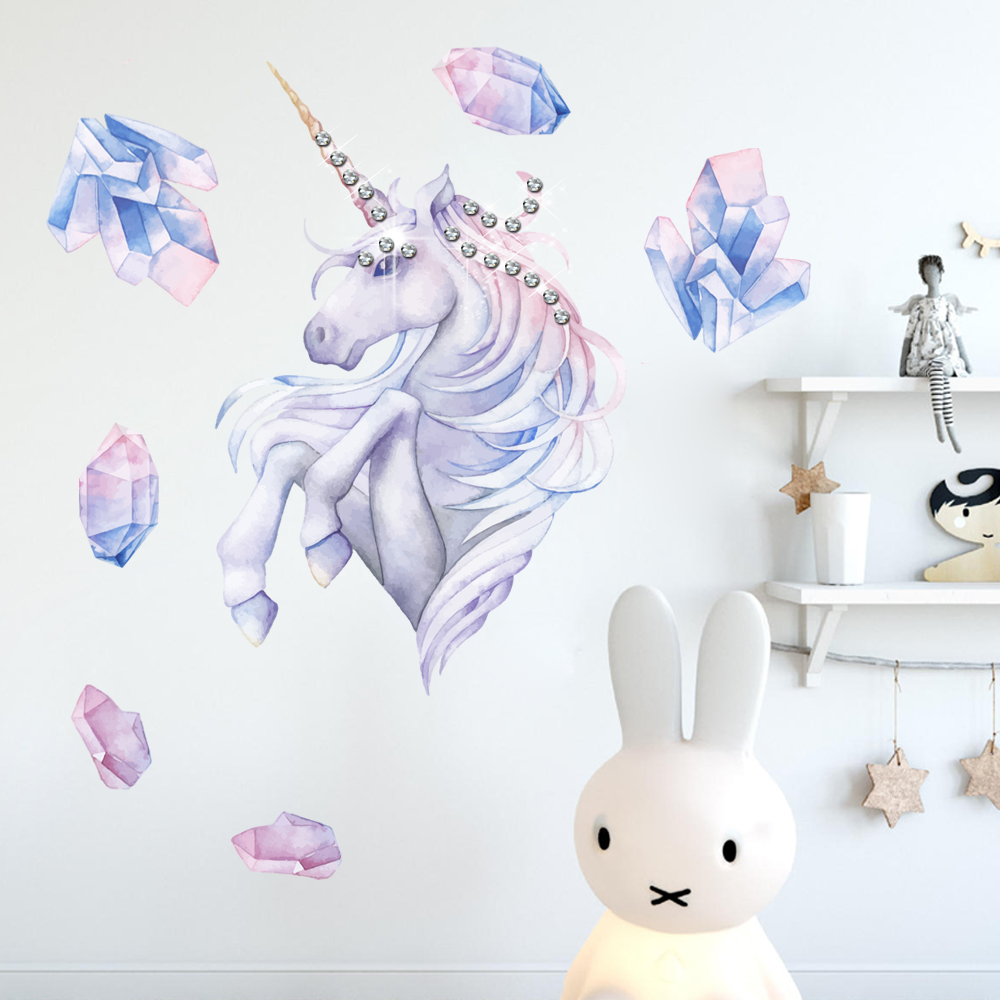 Diamond painting Unicorn Wall Sticker Removable Horse Head Decals Home Decor For Kids Rooms Decoration 20 Crystals as Bonus