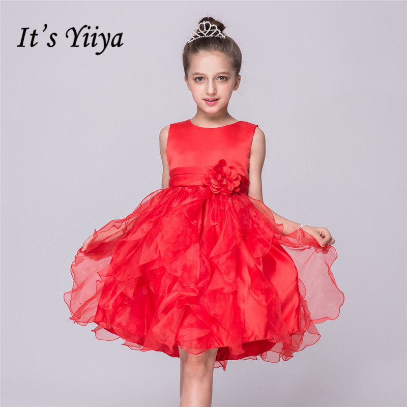 It's yiiya Many Colors Fashion Pleat Draped   Flower     Girl     Dresses   Red   Girls     Dress   O-neck Tank Princess Gown L085