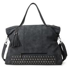 Fashion Women Pu Leather Handbag New Designer Famous Tassel Large Capacity Bag Vintage Shoulder Bag