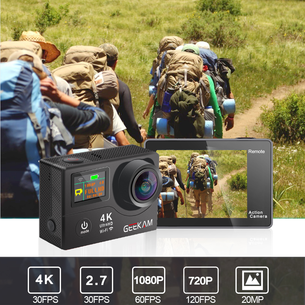 """Image 2 - GEEKAM H3R/H3 Action Camera Ultra HD 4K/30fps 20MP WiFi 2.0"""" 170D Dual Screen Waterproof Helmet Video Recording Camera Sport Cam-in Sports & Action Video Camera from Consumer Electronics"""