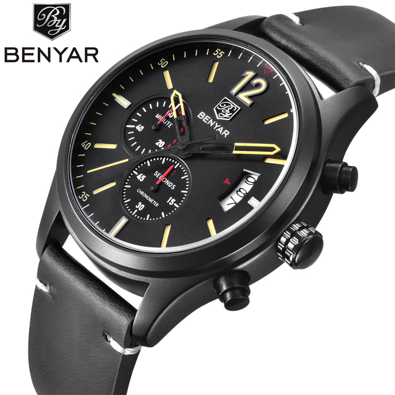 2017 New Watch Men Brand BENYAR Sport Men's Watches Leather Quartz Waterproof Chronograph Hour Clock Military Army Fashion weide new men quartz casual watch army military sports watch waterproof back light men watches alarm clock multiple time zone