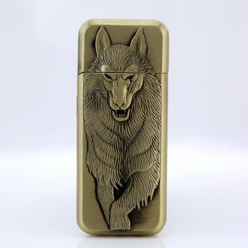 Wolf Originality Grinding Wheel Flame Butane Jet Lighter Gadgets For Men