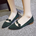 Elegant Flower Pointed Toe Flats Shoes for Women Genuine Leather Low Heel Slip-on Female Ballerina Single Shoe Women's Mocassins