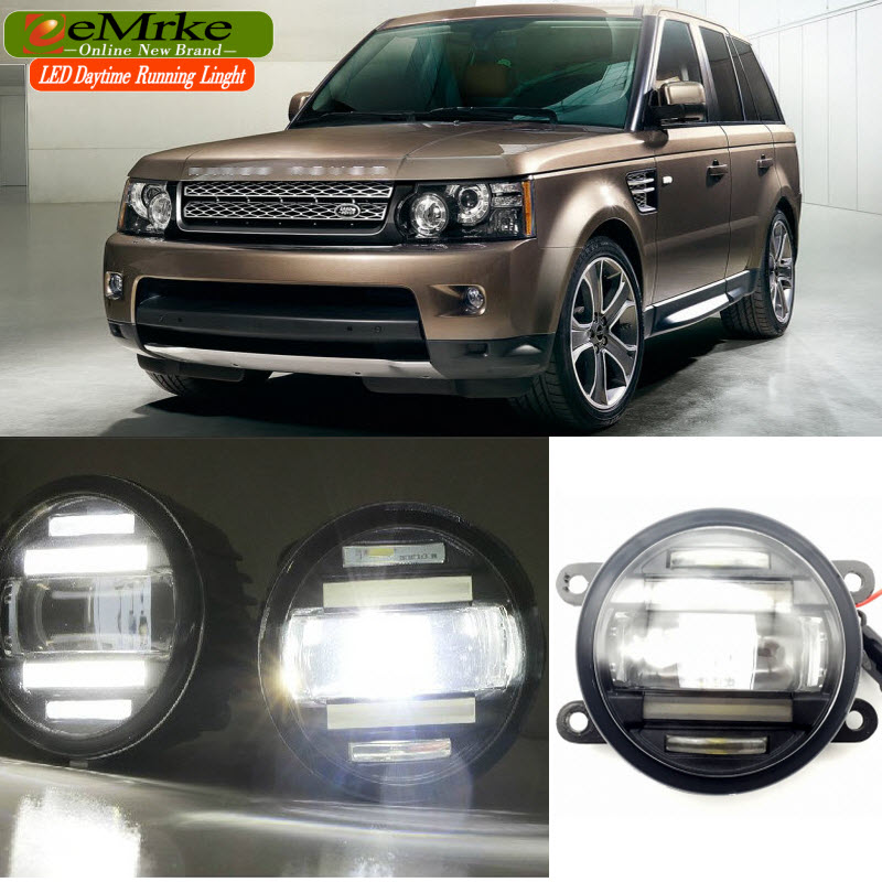 EEMRKE Car Styling for Land Rover Range Rover LM / Sport LS 2 in 1 LED DRL Fog Lights With Lens Daytime Running Lights leather car seat covers for land rover discovery sport freelander range sport evoque defender car accessories styling