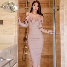 Women Package Hip Plaid Dress Sling  Ruffle  Long Sleeve Dress Off Shoulder Vestidos De Mujer Wrap Sexy Dress Midi  60j034 недорого