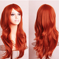 Hatsune miku wig Orange Long Curly synthetic party cos wigs 58cm Cosplay Wigs hair pad Perruque peruca femininas
