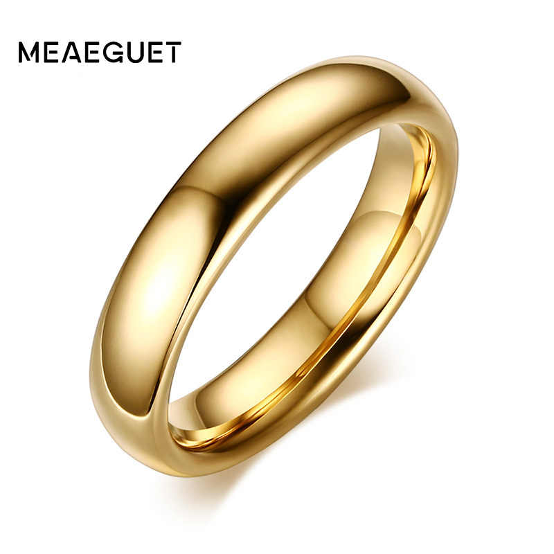 Meaeguet Fashion 100% Pure Tungsten Carbide Rings 6MM Wide Gold-Color Wedding Bands For Women Men Jewelry